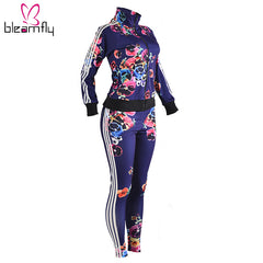 Tweedelige Set vrouwen Trainingspakken Herfst 2018 Crop Top En Broek Rits Casual Sweatsuit Lange Mouwen Printing Lente Outfits set