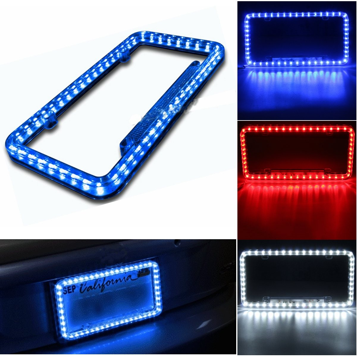 universele blauw witrode auto 54led verlichting acryl plastic nummerplaat cover frame