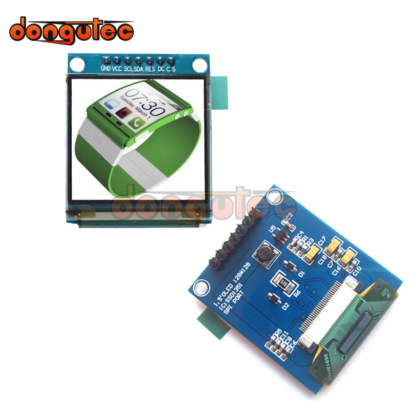 Dongutec 1 5 inch 7PIN Volledige Kleur OLED module Display Screen SSD1351  Drive IC 128 (RGB) * 128 SPI Interface voor 51 STM32 Arduino