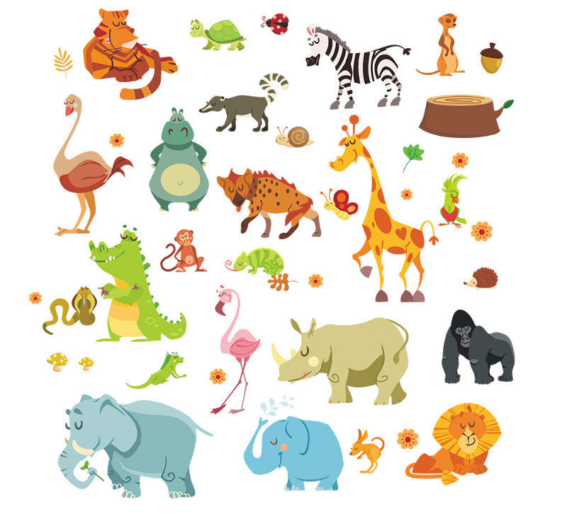 Jungle Bos dieren zoo muis olifant snake diy thuis decal muursticker ...