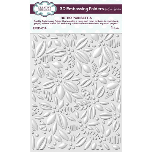 Creative Expressions 6x7.5 3D Embossing Folder - Retro Poinsettia