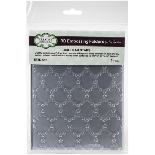 Creative Expressions 6x7.5 3D Embossing Folder - Circular Stars