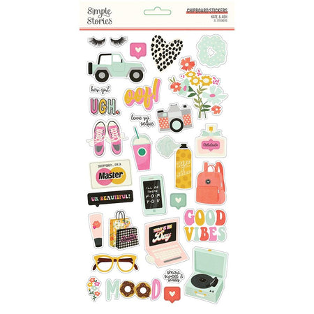 Simple Stories Kate & Ash - Chipboard Stickers