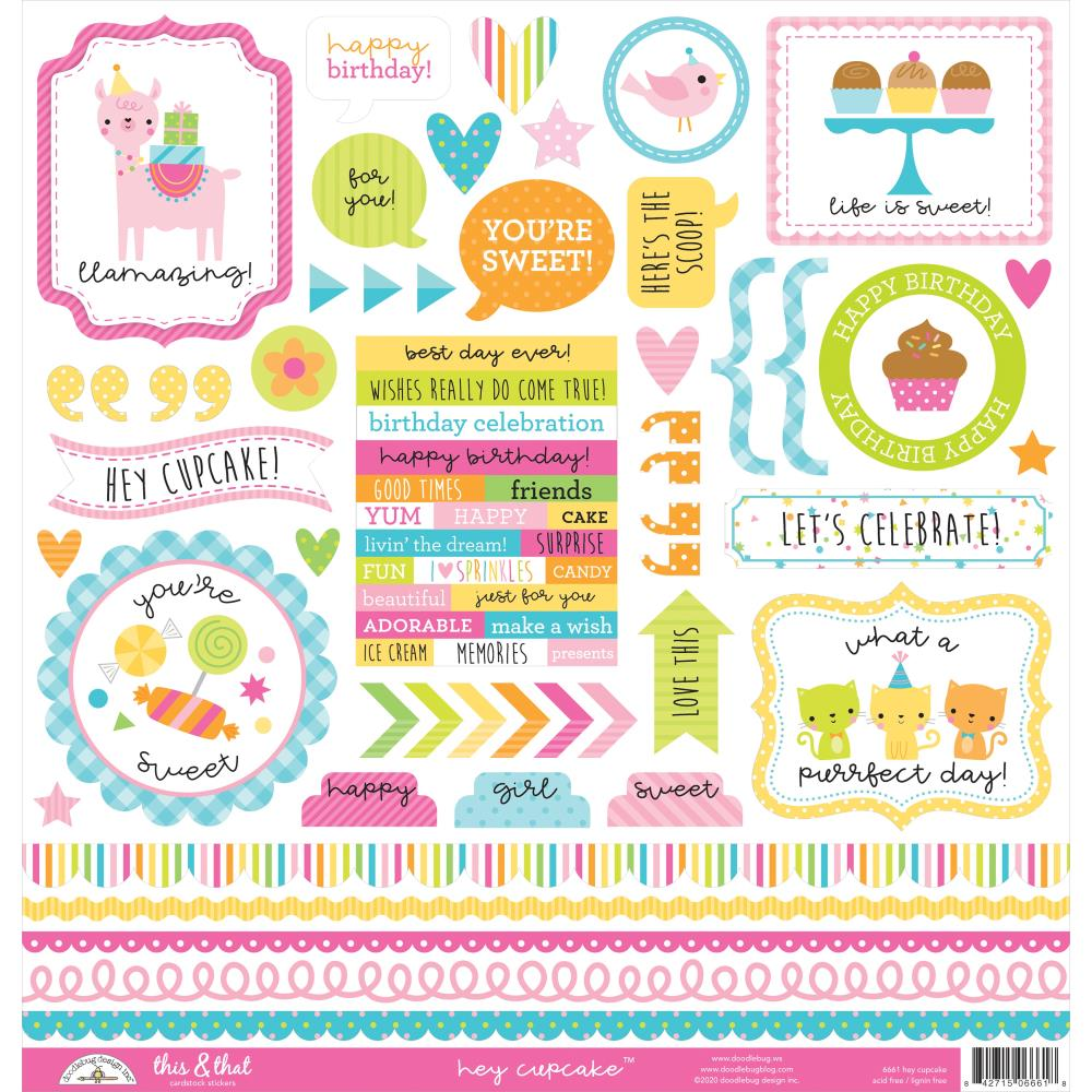 Doodlebug Design Hey Cupcake - This & That Stickers