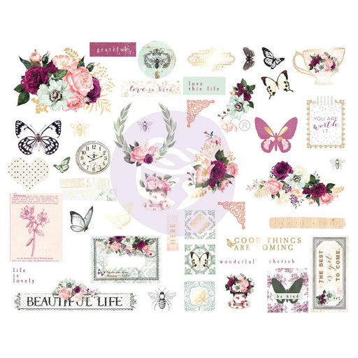 Prima Pretty Mosaic - Chipboard Stickers with foil