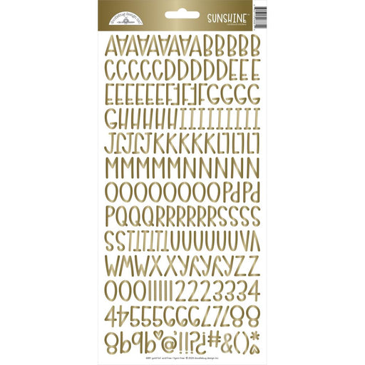 Doodlebug Sunshine Alphabet Stickers - Gold Foil