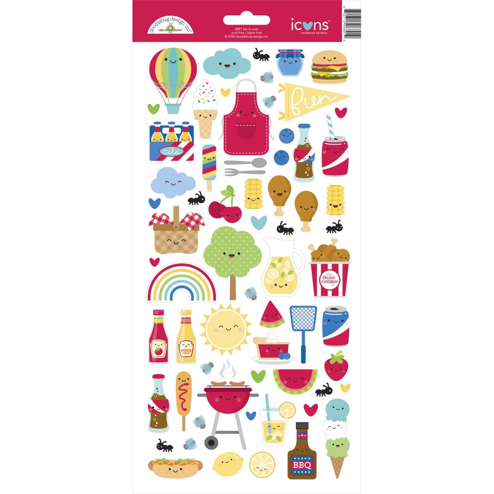 Doodlebug Design Bar-B-Cute - Icon Stickers