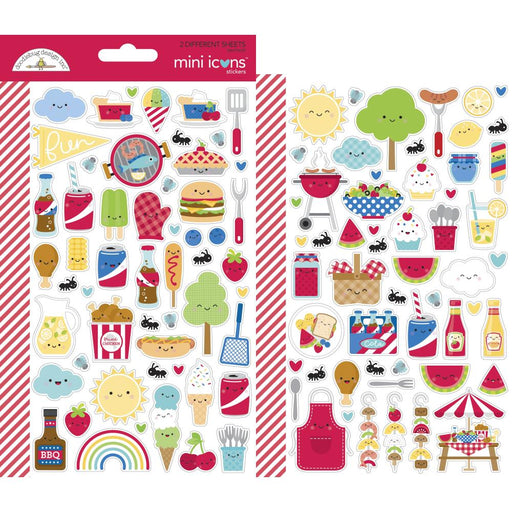 Doodlebug Design Bar-B-Cute - Mini Icon Stickers