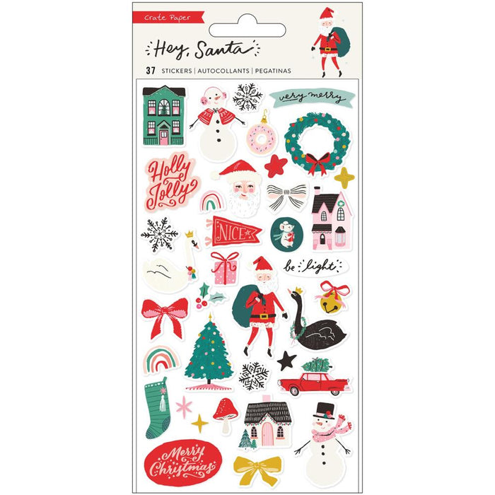 Crate Paper Hey Santa - Puffy Stickers