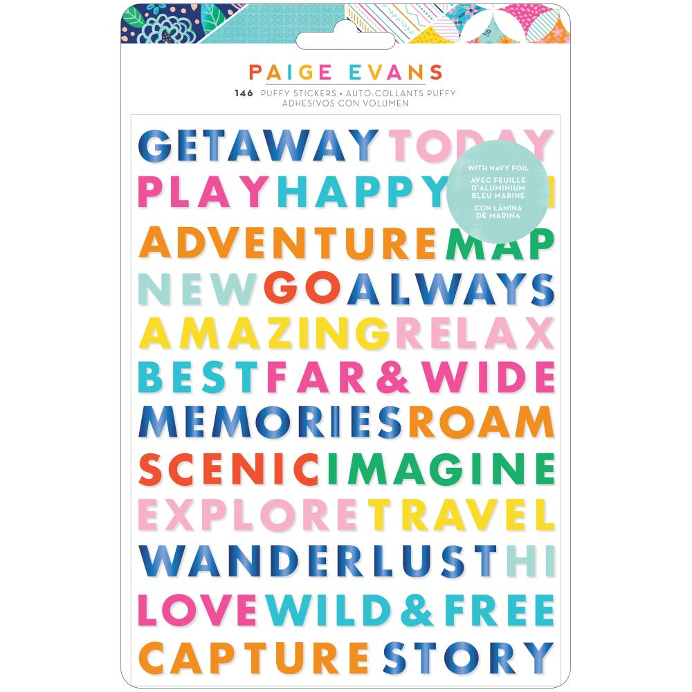 American Crafts Paige Evans Go The Scenic Route - Puffy Word Stickers