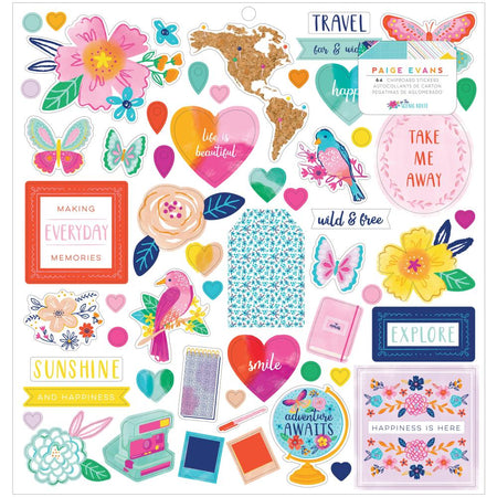 American Crafts Paige Evans Go The Scenic Route - Chipboard Stickers