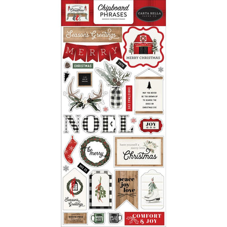 Carta Bella Farmhouse Christmas - Chipboard Phrases