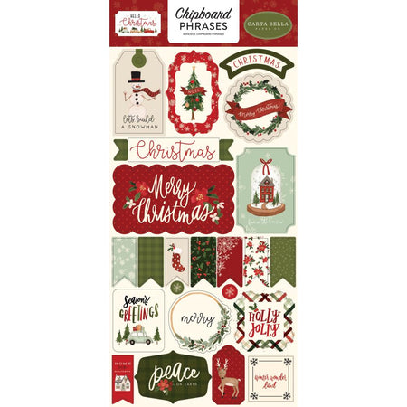 Carta Bella Hello Christmas - Chipboard Phrases