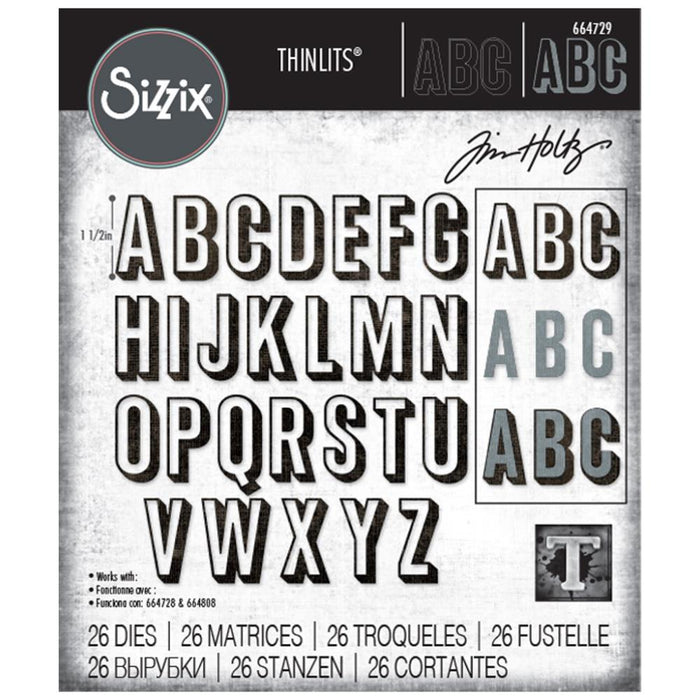 Sizzix Tim Holtz Alterations Thinlits Die - Alphanumeric Shadow Upper