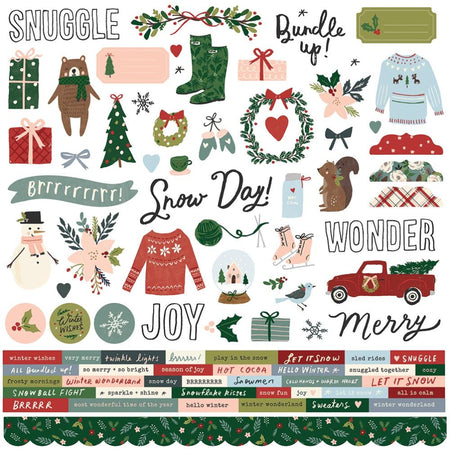 Simple Stories Winter Cottage - Combo Stickers