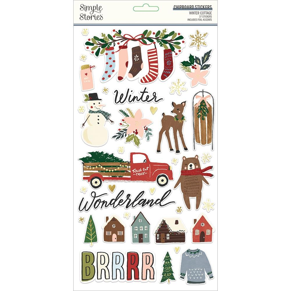 Simple Stories Winter Cottage - Chipboard Stickers