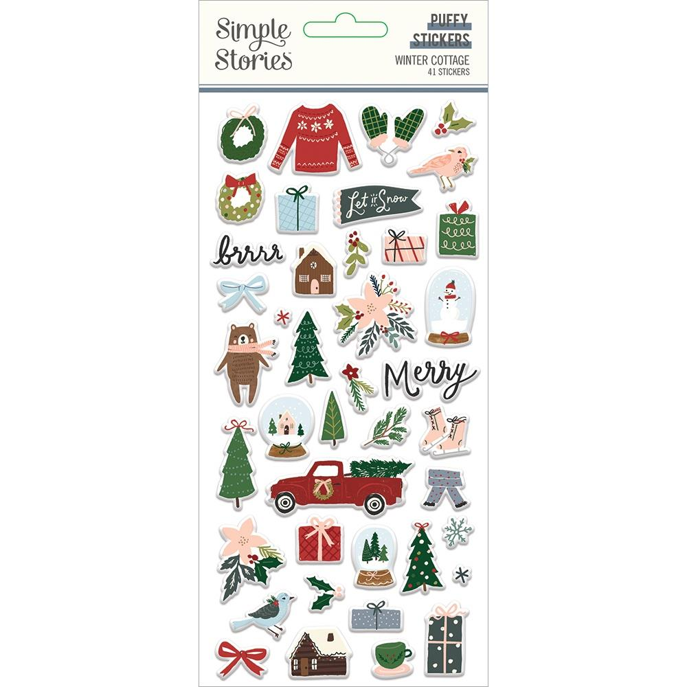 Simple Stories Winter Cottage - Puffy Stickers