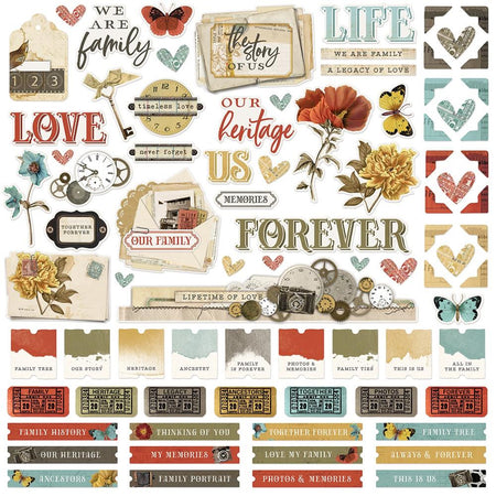 Simple Stories Simple Vintage Ancestry - Combo Stickers