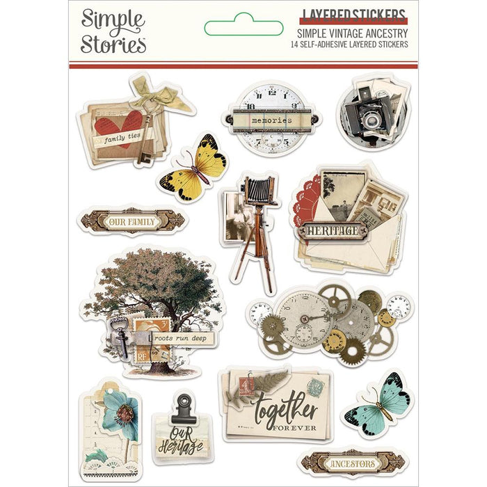 Simple Stories Simple Vintage Ancestry - Layered Stickers