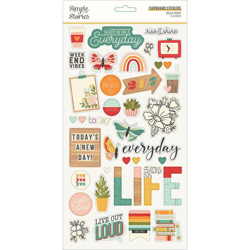Simple Stories Hello Today - Chipboard Stickers