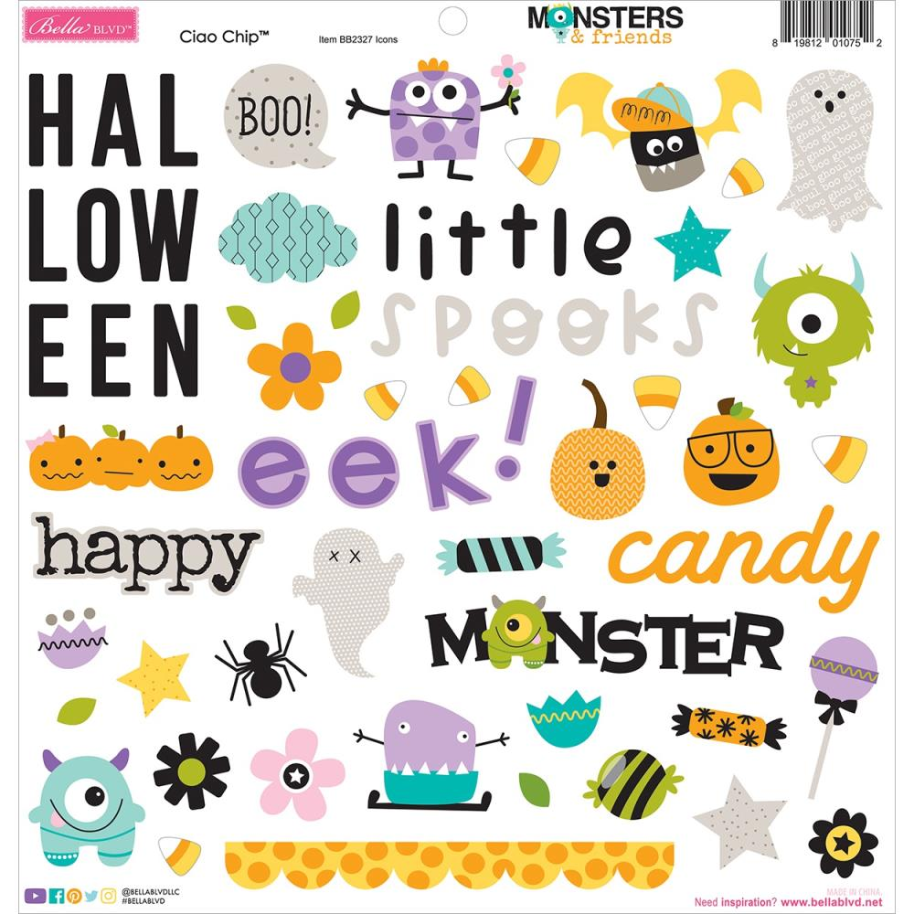 Bella Blvd Monsters and Friends - Ciao Chip Chipboard Stickers
