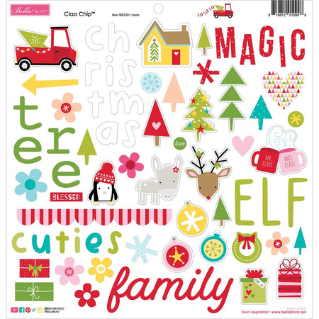 Bella Blvd Fa La La - Ciao Chip Chipboard Stickers