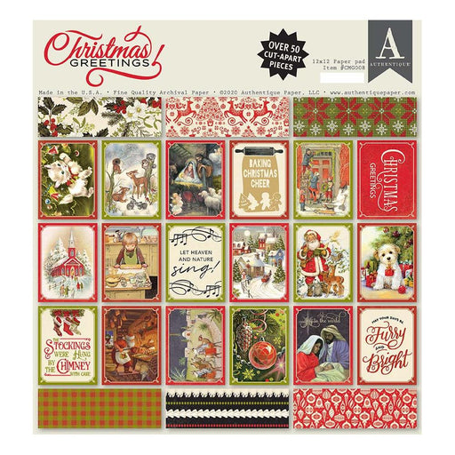 Authentique Christmas Greetings - 12x12 Pad