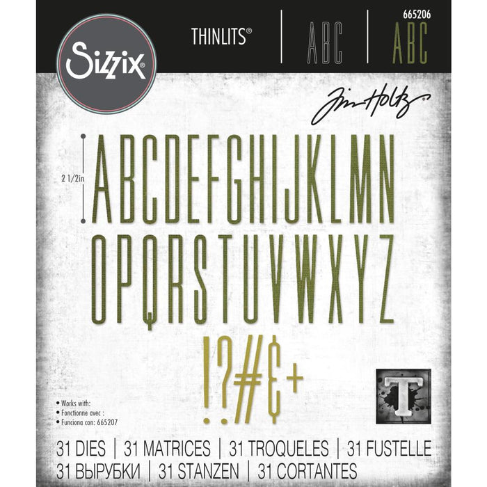 Sizzix Tim Holtz Alterations Thinlits Die - Alphanumeric Stretch Upper