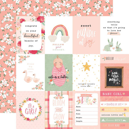 Echo Park Welcome Baby Girl - 3x4 Journaling Cards