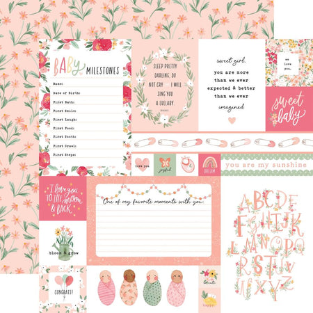 Echo Park Welcome Baby Girl - Multi Journaling Cards