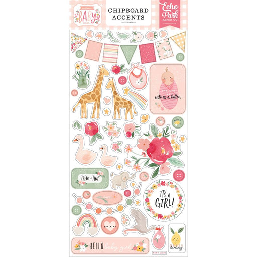 Echo Park Welcome Baby Girl - Chipboard Accents