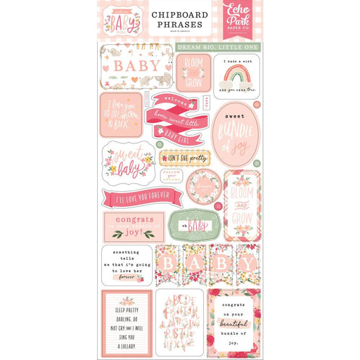 Echo Park Welcome Baby Girl - Chipboard Phrases