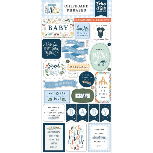 Echo Park Welcome Baby Boy - Chipboard Phrases