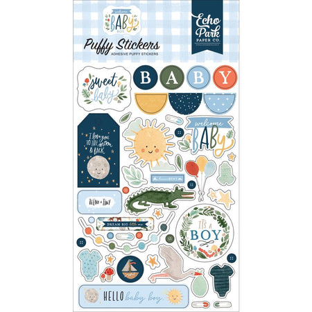 Echo Park Welcome Baby Boy - Puffy Stickers