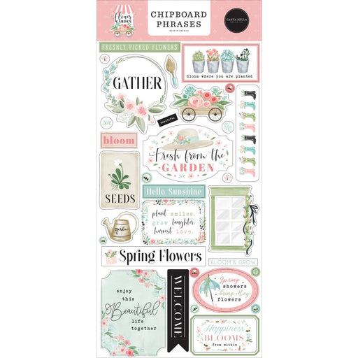Carta Bella Flower Garden - Chipboard Phrases