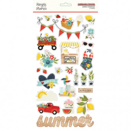 Simple Stories Summer Farmhouse - Chipboard Stickers