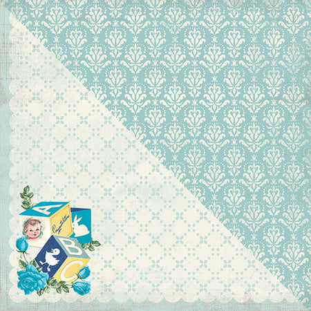 Authentique Swaddle Boy - #2 Baby Blue Damask