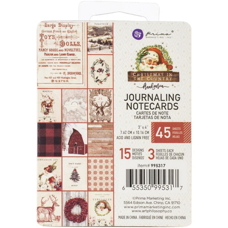 Prima Christmas In The Country - 3x4 Journaling Notecards