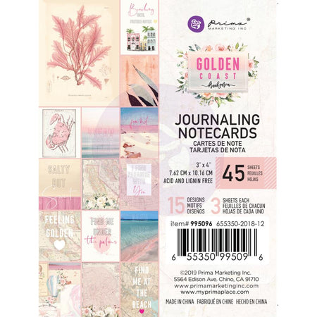 Prima Golden Coast - 3x4 Journaling Notecards