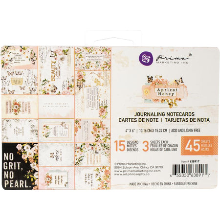 Prima Apricot Honey - 4x6 Journaling Notecards