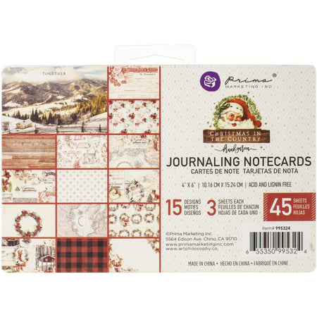 Prima Christmas In The Country - 4x6 Journaling Notecards