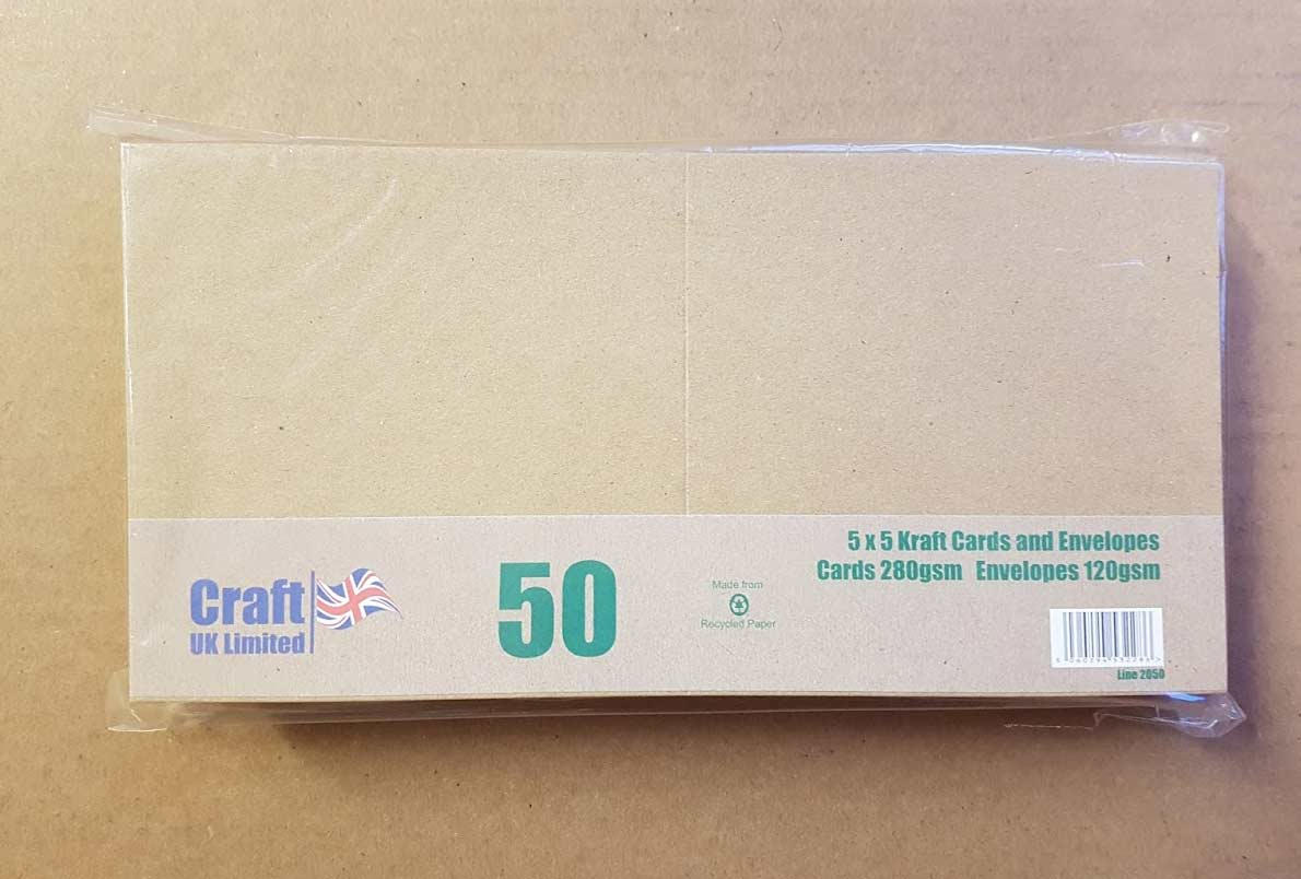 Craft UK Card Blanks & Envelopes - 5x5 Recycled Kraft (50)