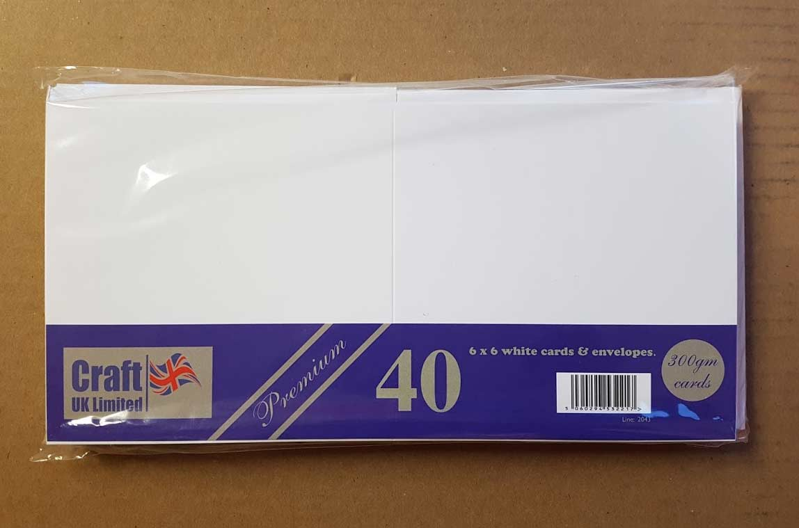Craft UK Card Blanks & Envelopes - 6x6 Premium White (40)
