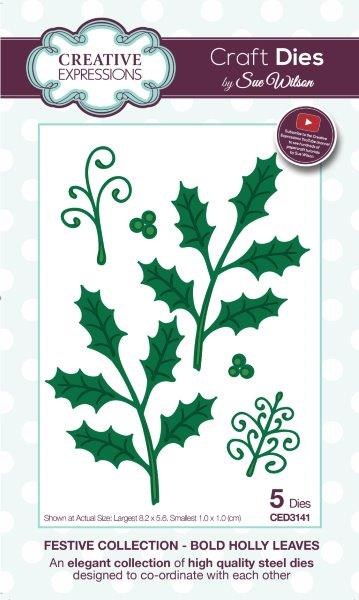 Creative Expressions Craft Die by Sue Wilson - Bold Holly Leaves