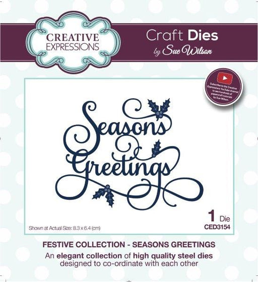 Creative Expressions Craft Die by Sue Wilson - Seasons Greetings