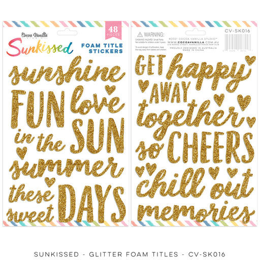 Cocoa Vanilla Studio Sunkissed - Glitter Foam Title Stickers
