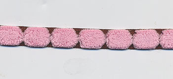 May Arts Fuzzy Centred Dot Ribbon - Pink