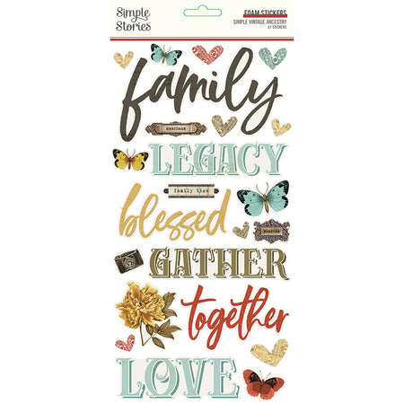 Simple Stories Simple Vintage Ancestry - Foam Stickers