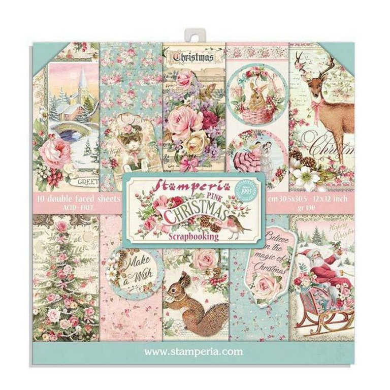 Stamperia Pink Christmas - 8x8 Paper Pack
