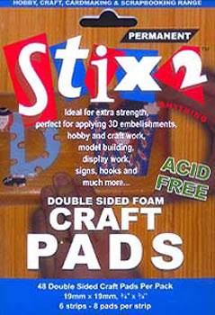 Stix2 Double Sided Foam Craft Pads 19mm x 19mm